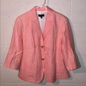 Talbots Woman 14W Pink White Linen Blend Blazer